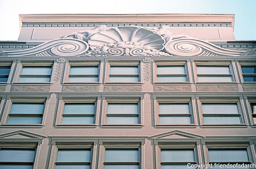 San Francisco: Monadnock Building, Market St. Courtyard wall. Illusionistic surrounds, etc. by Painters Charley Brown & Mark Evans, 1986.