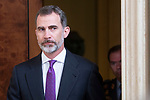 King Felipe VI of Spain receive in royal audience to Real Madrid Basketball Team, new champions of Turkish Airlines Euroleague 2017-2018 at Zarzuela Palace in Madrid, Spain. May 23, 2018. (ALTERPHOTOS/Borja B.Hojas)