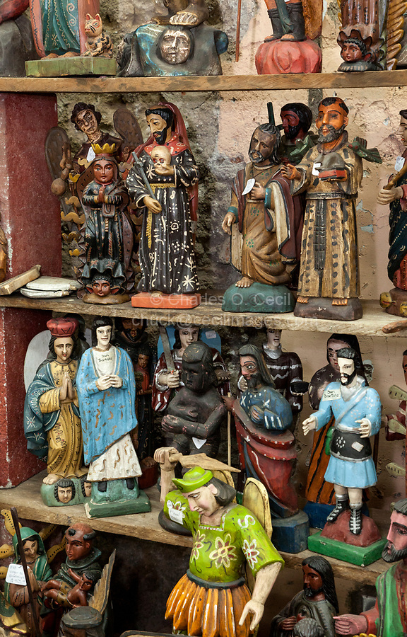 Antigua, Guatemala.  Figurines of Religious and Historical Figures.  Nim Po'T Handicrafts Outlet.