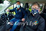 Breda Dyland (Kerry Cancer Support Group)  with Paudie Collins of Collins Buses in the  Kerry Cancer Support Groups bus, and are working through the lockdown providing vital transport for cancer patients.