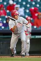 Houston Cougars outfielder Price Jacobs #44 squares to bunt against the Baylor Bears in the NCAA baseball game on March 2, 2013 at Minute Maid Park in Houston, Texas. Houston defeated Baylor 15-4. (Andrew Woolley/Four Seam Images).