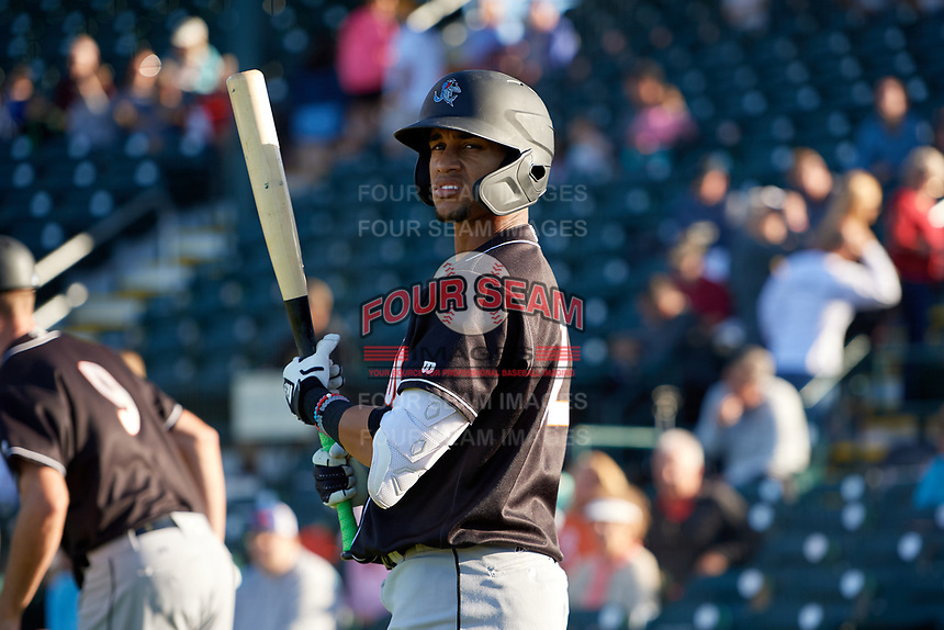 Jupiter Hammerheads Victor Victor Mesa (32) during a Florida State League game against the Bradenton Marauders on April 20, 2019 at LECOM Park in Bradenton, Florida.  Bradenton defeated Jupiter 3-2.  (Mike Janes/Four Seam Images)