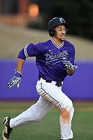 Left fielder Jabari Richards (6) of the Furman Paladins runs out a batted ball in game two of a doubleheader against the Harvard Crimson on Friday, March 16, 2018, at Latham Baseball Stadium on the Furman University campus in Greenville, South Carolina. Furman won, 7-6. (Tom Priddy/Four Seam Images)