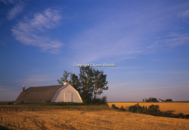 Potato storage building surrounded by harvested fields in Fort Fairfield, Maine, USA