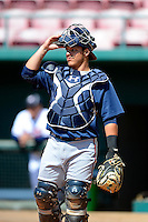 Atlanta Braves catcher Bryan De La Rosa #22 during practice before a minor league Spring Training game against the Philadelphia Phillies at Al Lang Field on March 14, 2013 in St. Petersburg, Florida.  (Mike Janes/Four Seam Images)