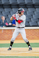 Blake Schmit (1) of the Maryland Terrapins at bat against the Wake Forest Demon Deacons at Wake Forest Baseball Park on April 4, 2014 in Winston-Salem, North Carolina.  The Demon Deacons defeated the Terrapins 6-4.  (Brian Westerholt/Four Seam Images)
