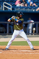 Biloxi Shuckers second baseman Nick Franklin (4) at bat during a game against the Jacksonville Jumbo Shrimp on May 6, 2018 at MGM Park in Biloxi, Mississippi.  Biloxi defeated Jacksonville 6-5.  (Mike Janes/Four Seam Images)