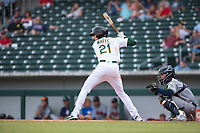 Mesa Solar Sox designated hitter Eli White (21), of the Oakland Athletics organization, at bat in front of catcher Mario Feliciano (6) during an Arizona Fall League game against the Peoria Javelinas at Sloan Park on October 11, 2018 in Mesa, Arizona. Mesa defeated Peoria 10-9. (Zachary Lucy/Four Seam Images)