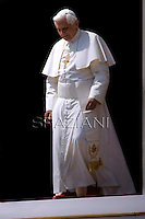 Pope Benedict XV reacts during his weekly general audience, in St. Peter's Square, at the Vatican, Wednesday, April 15, 2009.. December. 25, 2007.. .