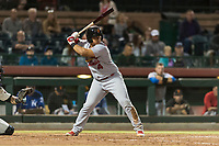 Surprise Saguaros catcher Jeremy Martinez (4), of the St. Louis Cardinals organization, at bat during an Arizona Fall League game against the Scottsdale Scorpions at Scottsdale Stadium on October 15, 2018 in Scottsdale, Arizona. Surprise defeated Scottsdale 2-0. (Zachary Lucy/Four Seam Images)