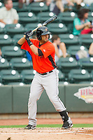 Jason Esposito (12) of the Frederick Keys at bat against the Winston-Salem Dash at BB&T Ballpark on July 21, 2013 in Winston-Salem, North Carolina.  The Dash defeated the Keys 3-2.  (Brian Westerholt/Four Seam Images)