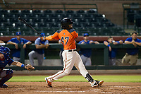 AZL Giants first baseman Nathanael Javier (47) follows through on his swing during Game Three of the Arizona League Championship Series against the AZL Cubs on September 7, 2017 at Scottsdale Stadium in Scottsdale, Arizona. AZL Cubs defeated the AZL Giants 13-3 to win the series two games to one. (Zachary Lucy/Four Seam Images)