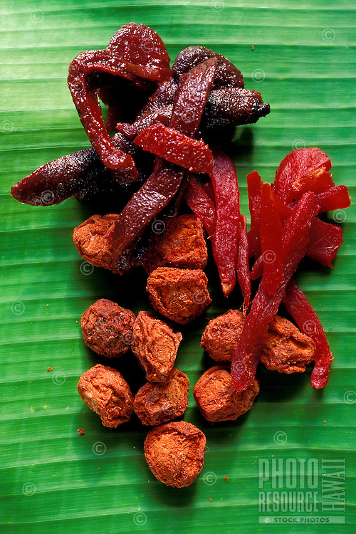 """Local Hawaiian delicacy: """"""""crack seed"""""""" made of dried, spiced fruits and their seeds, such as plum, cherry or mango."""