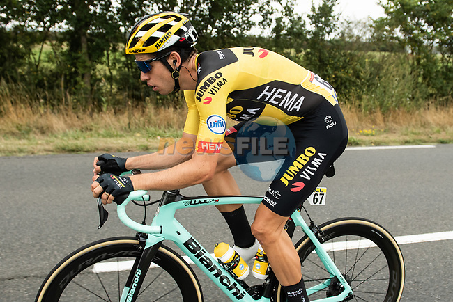 Wout Van Aert (BEL) Team Jumbo-Visma in action during Stage 1 of Criterium du Dauphine 2020, running 2185km from Clermont-Ferrand to Saint-Christo-en-Jarez, France. 12th August 2020.<br /> Picture: ASO/Alex Broadway   Cyclefile<br /> All photos usage must carry mandatory copyright credit (© Cyclefile   ASO/Alex Broadway)