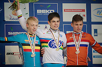 U23 podium: 1st Wout Van Aert (BEL), 2nd Michael Vanthourenhout (BEL) & 3rd Mathieu van der Poel (NLD)<br /> <br /> 2014 UCI cyclo-cross World Championships, Men U23