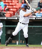 Buffalo Bisons third baseman Michael Fisher #18 at bat during a game against the Charlotte Knights at Dunn Tire Park on May 22, 2011 in Buffalo, New York.  Buffalo defeated Charlotte by the score of 7-5.  Photo By Mike Janes/Four Seam Images