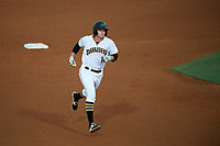 Bradenton Marauders designated hitter Jordan George (10) rounding the bases after hitting a home run in the bottom of the fourth inning during the second game of a doubleheader against the Tampa Yankees on June 14, 2017 at LECOM Park in Bradenton, Florida.  Tampa defeated Bradenton 5-1.  (Mike Janes/Four Seam Images)