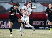 COLLEGE PARK, MD - NOVEMBER 21: Eli Crognale #10 of Maryland and Josh Plimpton #7 of Iona clash during a game between Iona College and University of Maryland at Ludwig Field on November 21, 2019 in College Park, Maryland.