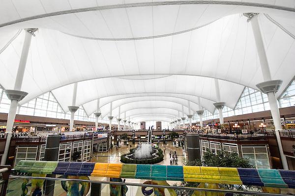 Interior of Denver International Airport, Denver, Colorado, USA John offers private photo tours of Denver, Boulder and Rocky Mountain National Park.