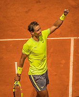 Paris, France, 29 May, 2019, Tennis, French Open, Roland Garros, Rafael Nadal (ESP) jubilates his win over German Maden<br /> Photo: Henk Koster/tennisimages.com
