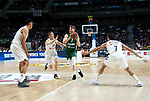 Real Madrid's Gustavo Ayon, Real Madrid's Jaycee Carroll, Zalgiris' Thomas Walkup and Real Madrid's Facundo Campazzo during Euroligue match between Real Madrid and Zalgiris Kaunas at Wizink Center in Madrid, Spain. April 4, 2019.  (ALTERPHOTOS/Alconada)