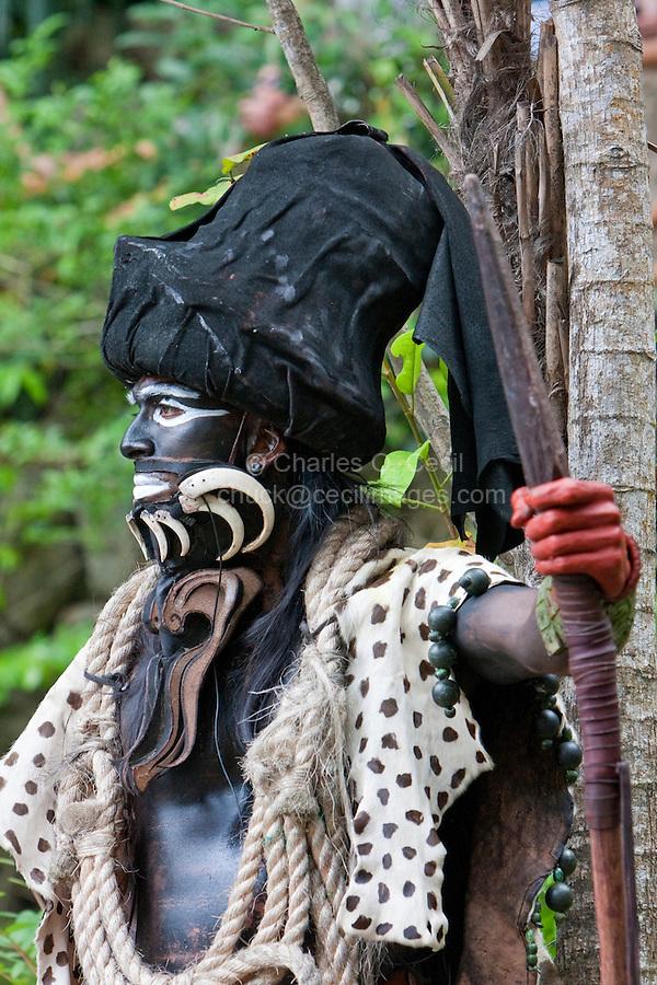 Mayan Dancer Representing Ek Chuah, God of Cacao, Xcaret, Riviera Maya, Yucatan, Mexico.