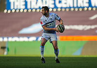 24th April 2021; Liberty Stadium, Swansea, Glamorgan, Wales; Rainbow Cup Rugby, Ospreys versus Cardiff Blues; Jason Tovey of Cardiff Blues passes the ball out