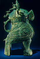 """China:  Bird-shaped Wine Vessel (zun).  Shang dynasty, 13th - 11th C.  B.C.  18 1/2"""" bronze.  Institute of Archaeology, Beijing.  Great Bronze Age of China, exhibition."""