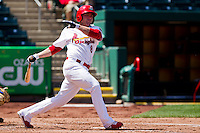 Chris Swauger (8) of the Springfield Cardinals follows through on his swing during a game against the Frisco RoughRiders on April 16, 2011 at Hammons Field in Springfield, Missouri.  Photo By David Welker/Four Seam Images
