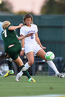 Baylor midfielder Alexa Wilde (7) kicks the ball into the knee of TCU midfielder Lauren Sajewich during first half of an NCAA soccer game, Friday, October 03, 2014 in Waco, Tex. TCU draw 1-1 against Baylor in double overtime. (Mo Khursheed/TFV Media via AP Images)