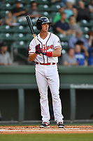 Third baseman Bobby Dalbec (23) of the Greenville Drive bats in a game against the Lexington Legends on Wednesday, April 12, 2017, at Fluor Field at the West End in Greenville, South Carolina. Greenville won, 4-1. (Tom Priddy/Four Seam Images)