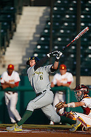 Scott Heineman #6 of the Oregon Ducks bats against the USC Trojans at Dedeaux Field on March 15, 2013 in Los Angeles, California. (Larry Goren/Four Seam Images)