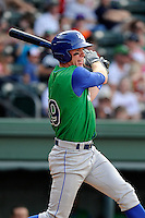 Left fielder Fred Ford (19) of the Lexington Legends bats in a game against the Greenville Drive on Sunday, April 27, 2014, at Fluor Field at the West End in Greenville, South Carolina. Greenville won, 21-6. (Tom Priddy/Four Seam Images)