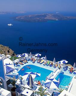 Greece; Cyclades; Santorini; Fira (Thira): Swimming Pool with view across the Caldera, cruise ship and island Nea Kameni