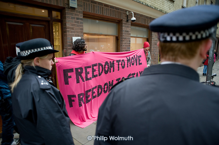 Demonstration outside the Holborn offices of Serco in support of hunger strikers at Yarl's Wood Detention Centre.