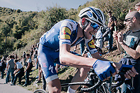 Laurens De Plus (BEL/QuickStep Floors) up the infamous Muro di Sormano (avg 17%/max 25%) after which he would spectacularly crash (into a ravine) in the descent; luckely for him without too much harm...<br /> <br /> Il Lombardia 2017<br /> Bergamo to Como (ITA) 247km