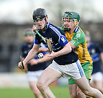 Oisin Cahill of Kilmaley in action against Cian Mc Inerney of Inagh-Kilnamona during their Minor A county final at Cusack Park. Photograph by John Kelly.