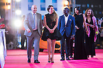 Dwight Yorke, Gaile Lai, Gary McAllister and his wife walk the Red Carpet event at the World Celebrity Pro-Am 2016 Mission Hills China Golf Tournament on 20 October 2016, in Haikou, China. Photo by Victor Fraile / Power Sport Images