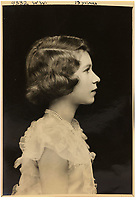 BNPS.co.uk (01202 558833)<br /> Pic: MarcusAdams/ChiswickAuctions/BNPS<br /> <br /> 1939 - Profile portrait for a stamp - Princess Elizabeth (13) in Buckingham Palace on the eve of  WW2.<br /> <br /> Charming childhood photos of Princess Elizabeth and Princess Margaret have come to light, including a previously unseen image of the future Queen in a kilt.<br /> <br /> The portraits, taken by acclaimed British society photographer Marcus Adams, capture the future Queen from being a baby to her adolescence.<br /> <br /> The Queen Mother would often take her daughters to his central London studio where he would set up toys and props to keep them entertained
