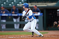 Max Miller (5) of the Duke Blue Devils follows through on his swing against the Virginia Cavaliers in Game Seven of the 2017 ACC Baseball Championship at Louisville Slugger Field on May 25, 2017 in Louisville, Kentucky. The Blue Devils defeated the Cavaliers 4-3. (Brian Westerholt/Four Seam Images)