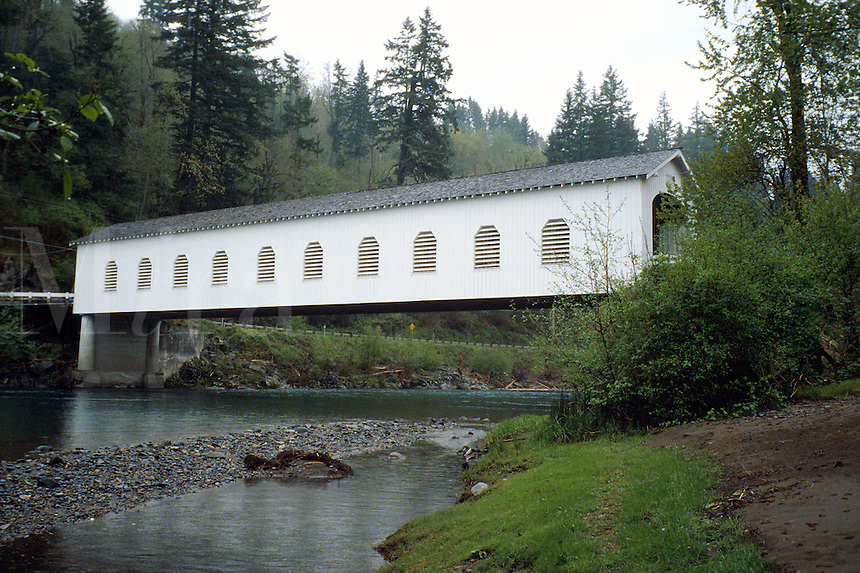 Goodpasture covered bridge in rural Oregon. Springfield Oregon USA McKenzie river valley.