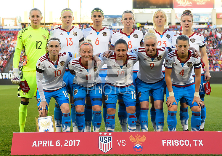 Frisco, TX - April 6, 2017: The U.S. Women's national team go up versus Russia in an international friendly match at Toyota stadium.