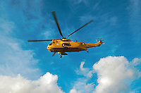RAF search and rescue sea king helicopter coming into land. This image may only be used to portray the subject in a positive manner..©shoutpictures.com..john@shoutpictures.com