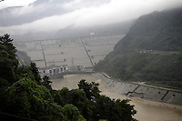 The Zipingpu dam, which lies just a few kilometres upstream from the Dujiangyan Irrigation System, a 2000-year old structure which harvests summer flood waters.  The new dam has resulted in changing water flow and has caused numerous environmental concerns for local ecosystems. Sichuan Province. 2010