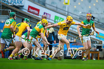 Joe Maskey, Antrim in action against Daniel Collins, Kerry during the Joe McDonagh Cup Final match between Kerry and Antrim at Croke Park in Dublin.
