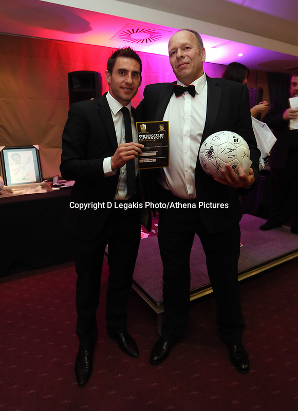 Pictured: Wednesday 10 April 2013<br /> Re: Swansea footballer Angel Rangel and wife Nicky's cancer charity fundraising dinner at the Liberty Stadium.