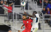 WASHINGTON, D.C. - OCTOBER 11: Sebastian Lletget #17 of the United States and Dario Ramos #16 of Cuba battle in the air for the ball during a Nations League game between the USA and Cuba at Audi Field, on October 11, 2019 in Washington D.C.