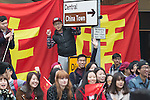 © Joel Goodman - 07973 332324 . 23/10/2015 . Manchester , UK . Crowds in Albert Square outside Manchester Town Hall as Chinese president , Xi Jinping , visits Manchester as part of his state visit to the United Kingdom . Photo credit : Joel Goodman