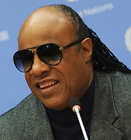 NEW YORK, NY - SEPTEMBER 23: Musician Stevie Wonder, an United Nations Messenger of Peace, addresses a high-level meeting as part of the 68th session of the United Nations General Assembly at United Nations headquarters on September 23, 2013 in New York City. The meeting was on the Realization of the Millennium Development Goals and Other Internationally Agreed Development Goals for Persons with Disabilities. <br /> <br /> People:  Stevie Wonder<br /> <br /> Transmission Ref:  MNC1<br /> <br /> Must call if interested<br /> Michael Storms<br /> Storms Media Group Inc.<br /> 305-632-3400 - Cell<br /> 305-513-5783 - Fax<br /> MikeStorm@aol.com<br /> www.StormsMediaGroup.com
