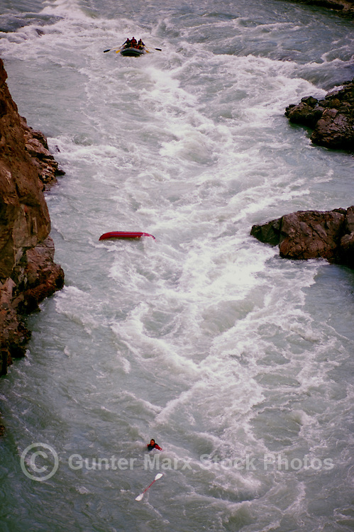 Cariboo Chilcotin Coast Region, BC, British Columbia, Canada - Man overboard in Whitewater Rafting and Kayaking Accident on Chilcotin River, flowing through Farwell Canyon